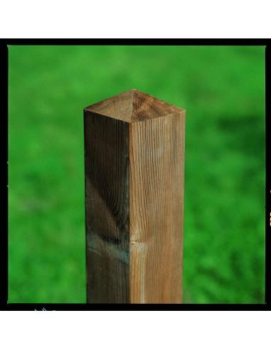 Grenen poortpaal met diamantkop